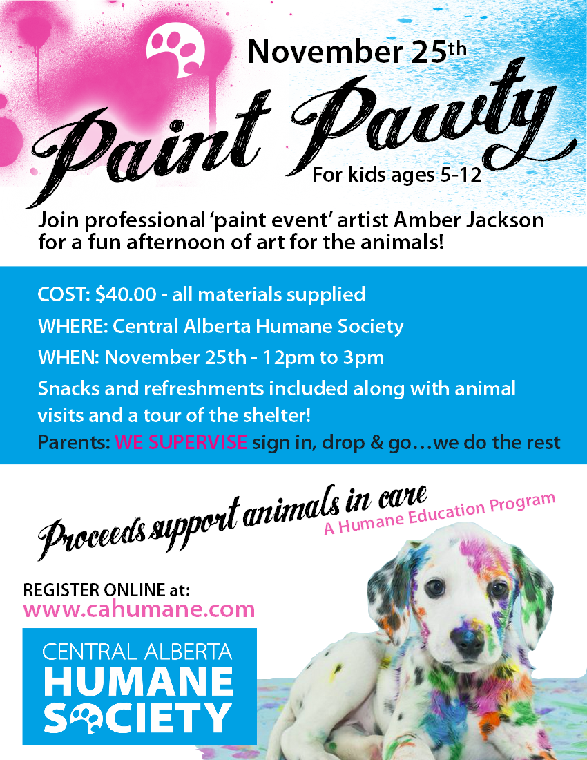 paint pawty for kids current events central alberta humane society